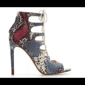Zara Blogger Favorite Multi Color Snakeskin Heels